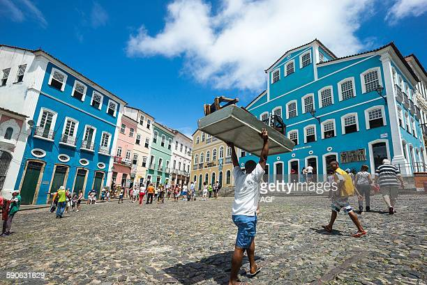 Brazil Salvador people in Pelourinho square in the background the Jorge Amado house foundation