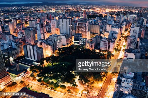 Brazil, Sao Paulo, cityscape, elevated view, dusk : Stock Photo