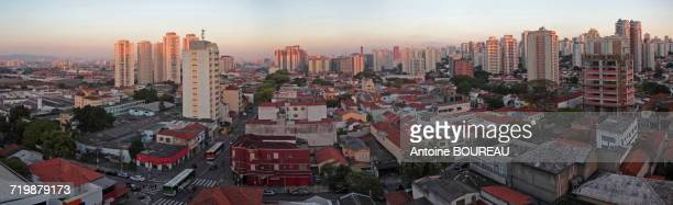 Brazil, Sao Paulo, Panoramic view of the new districts of Lapa and Villa Romana