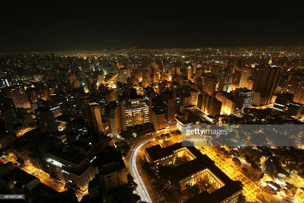Brazil, Sao Paulo State, Sao Paulo, Elevated view of city at night