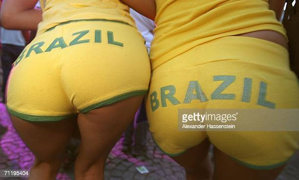 Brazil soccer fans dance during the FIFA World Cup 2006 Group F match between Brazil and Croatia on June 13 2006 in Dortmund Germany