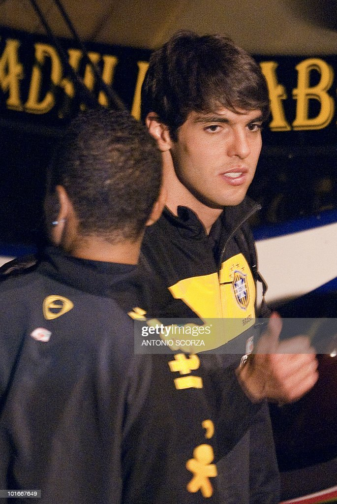 Brazil' soccer striker Kaka gives the thumb up as arrives with teammates at Dars El Salam airport to dispute a friendly match against Tanzania, on June 6, 2010 ahead of the 2010 FIFA World Cup held in South Africa.