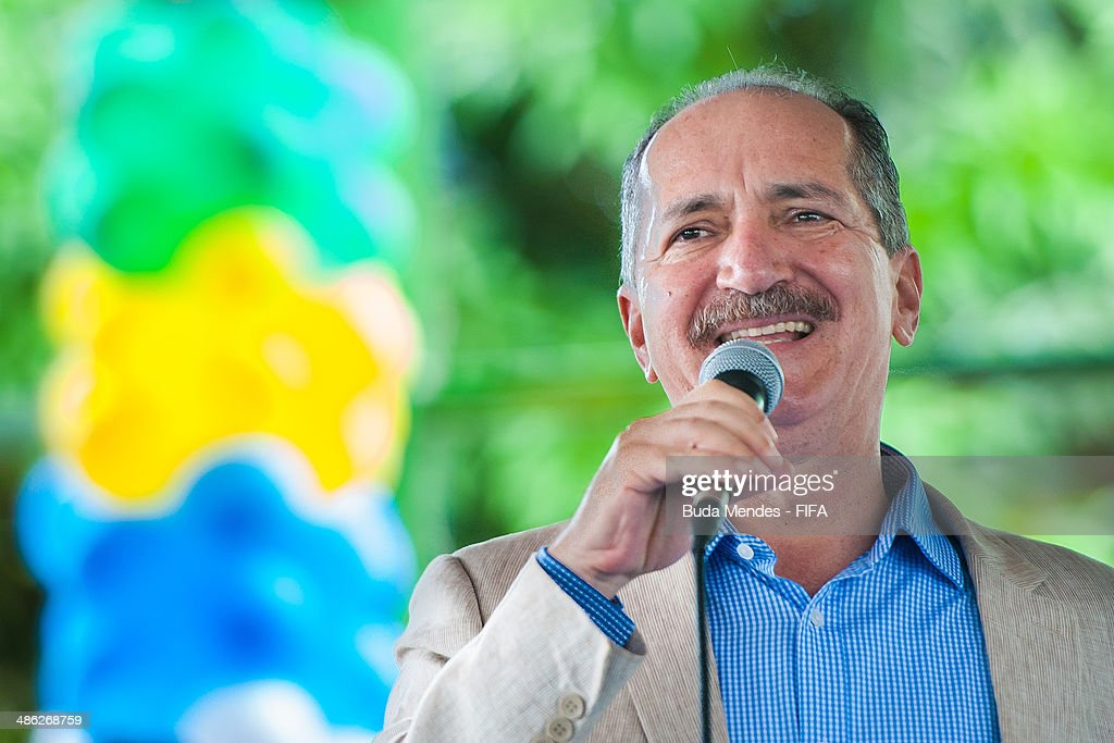 Brazil Sports Minister <a gi-track='captionPersonalityLinkClicked' href=/galleries/search?phrase=Aldo+Rebelo&family=editorial&specificpeople=772117 ng-click='$event.stopPropagation()'>Aldo Rebelo</a> speaks for kids during visit the FIFA 11 for Health Program as part of the 2014 FIFA World Cup Host City Tour on April 23, 2014 in Cuiaba, Brazil