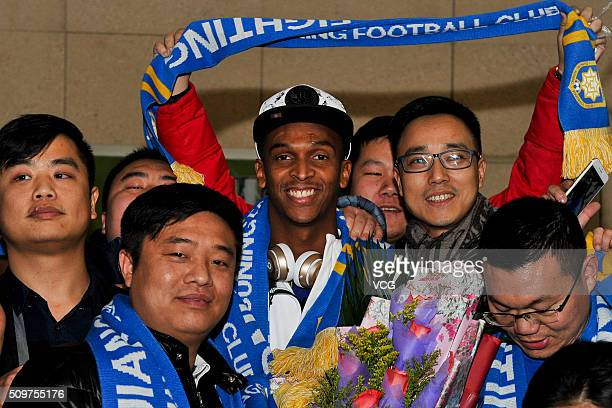 Brazil striker Jo of Jiangsu Suning club arrives in Nanjing on February 11 2016 in Nanjing Jiangsu Province of China