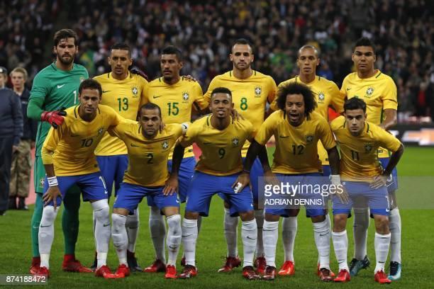 Brazil team Brazil's goalkeeper Alisson Brazil's defender Marquinhos Brazil's midfielder Paulinho Brazil's midfielder Renato Augusto Brazil's...