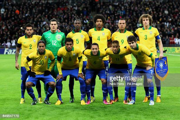 Brazil team group Dani Alves Julio Cesar Ramires Dante Luis Fabiano and David Luiz Ronaldinho Paulinho Adriano Neymar and Oscar