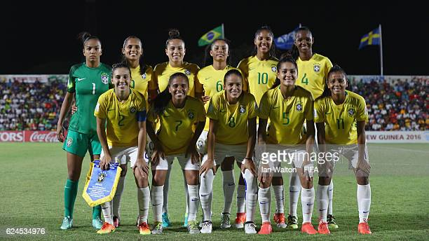 Brazil team lines up during the FIFA U20 Women's World Cup Group A match between Brazil and Sweden at PNG Football Stadium on November 20 2016 in...