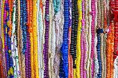 "brazil textiles souvenir, background of bright Brazilian rugs""n"
