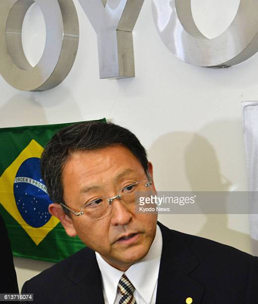 SOROCABA Brazil Toyota Motor Corp President Akio Toyoda speaks after a ceremony in Sorocaba Brazil on Aug 9 marking the opening of the carmaker's...