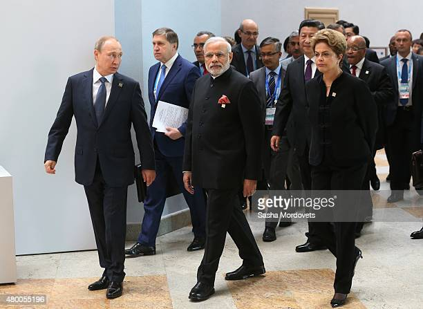 Brazilain President Dilma Rousseff C Indian Prime Minister Narendra Modi Russian President Vladimir Putin and Chinese President Xi Jinping and South...
