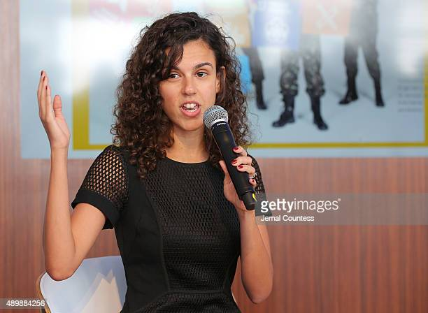 Brazilian activist Alessandra Orofino speaks at the premiere of Global Goals 60 second Cinema Ad at the United Nations on September 24 2015 in New...