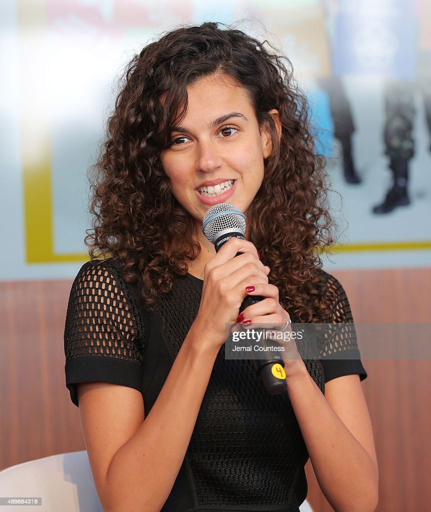 Brazilian activist Alessandra Orofino speaks at the premiere of Global Goals 60 second Cinema Ad at the United Nations on September 24, 2015 in New York City.