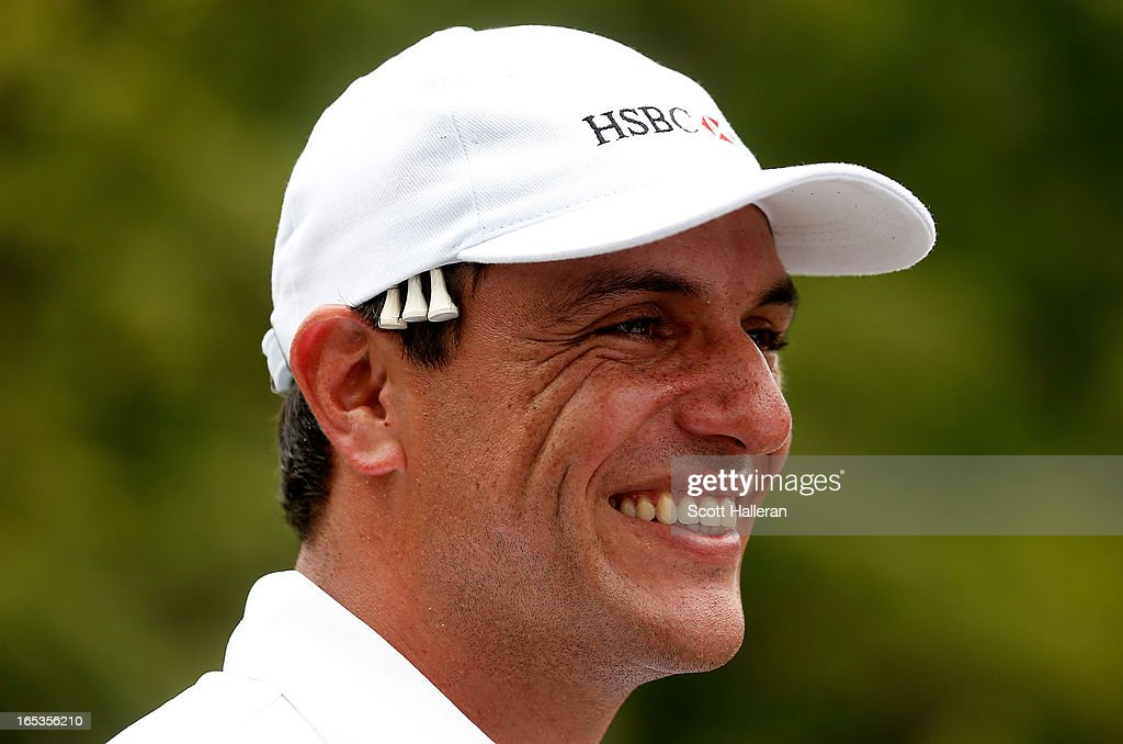 Brazilian actor Rodrigo Lombardi waits on a tee box during the pro-am at the Sao Paulo Golf Club prior to the start of the Brasil Classic Presented by HSBC on April 3, 2013 in Sao Paulo, Brazil.