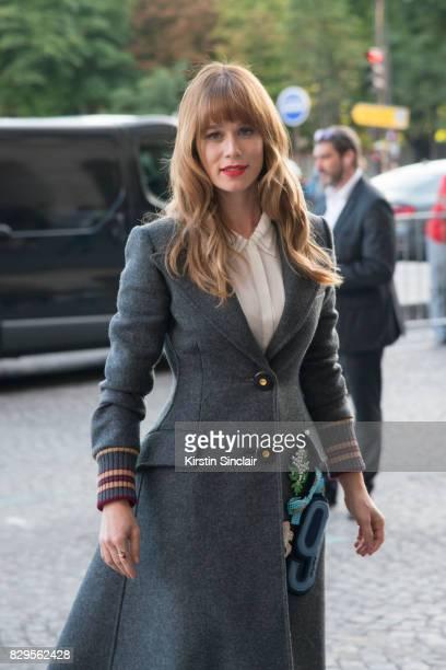 Brazilian actress Mariana Ximenes wearing Miu Miu day 1 of Paris Haute Couture Fashion Week Autumn/Winter 2017 on July 2 2017 in Paris France