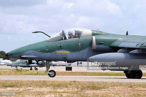 Brazilian Air Force A-1A (AMX) taxiing at Natal Air Force Base, Brazil, equipped with a RecceLite Pod.