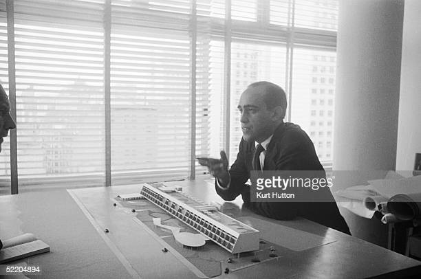 Brazilian architect Oscar Niemeyer discusses one of his designs 3rd June 1960 Original Publication Picture Post 4971 Niemeyer A South American...