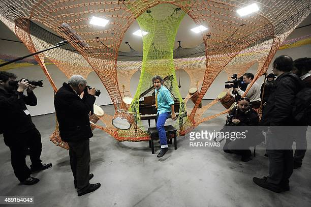 Brazilian artist Ernesto Neto shows his artwork 'Drum'during the presentation of Neto's exhibition 'The Body That Carries Me' on February 13 2014 at...