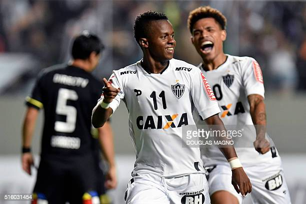 Brazilian Atletico Mineiro player Cazares celebrates after scoring against Chile's ColoColo during their 2016 Libertadores Cup match at the...