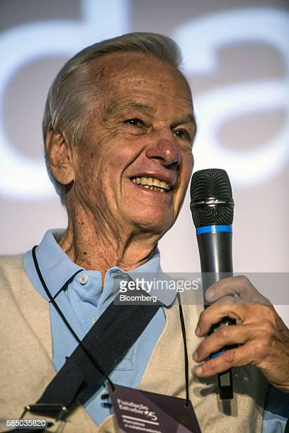 Brazilian billionaire Jorge Paulo Lemann cofounder of Fundacao Estudar smiles during an event for the nonprofit organization's 25th Anniversary in...