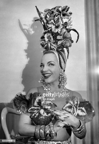 'Brazilian bombshell' Carmen Miranda in her dressing room at the London Palladium Theatre