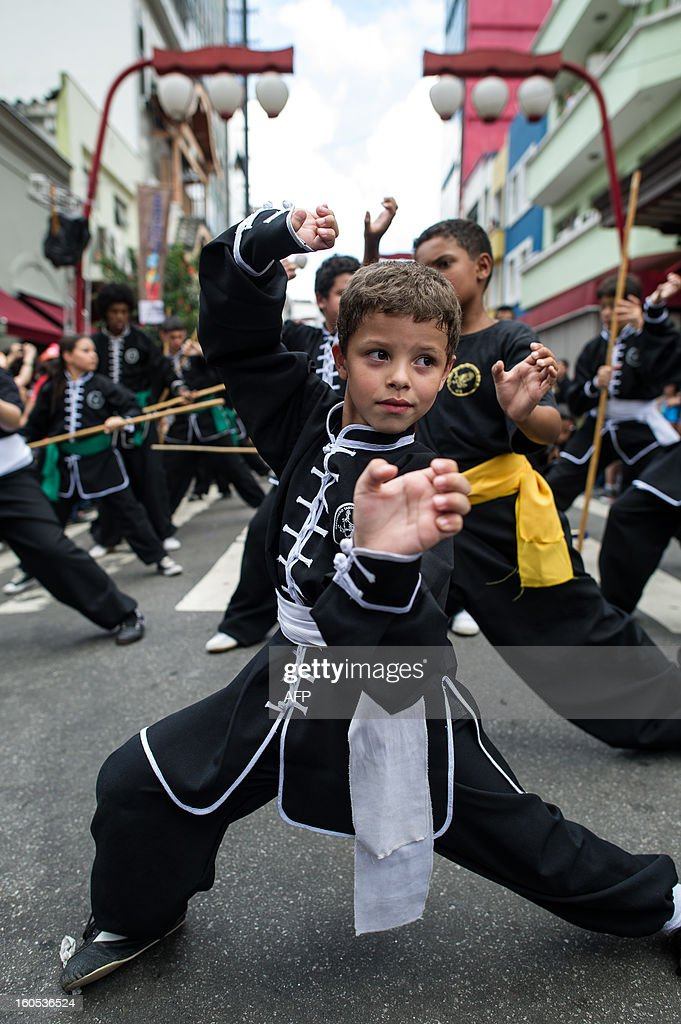 A Brazilian boy performs kungfu during the Chinese lunar new year celebrations at Liberdade district in Sao Paulo, Brazil, on February 2, 2013. The Chinese lunar New Year's day will be February 10 as the year of snake in Chinese zodiac calendar. AFP PHOTO/Yasuyoshi CHIBA