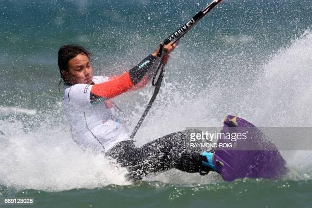 Brazilian Bruna Kajiya competes in the Mondial du Vent or World Wind kitesurfer competition part of the World Cup Kitesurf Freestyle WKL 2017 at La...