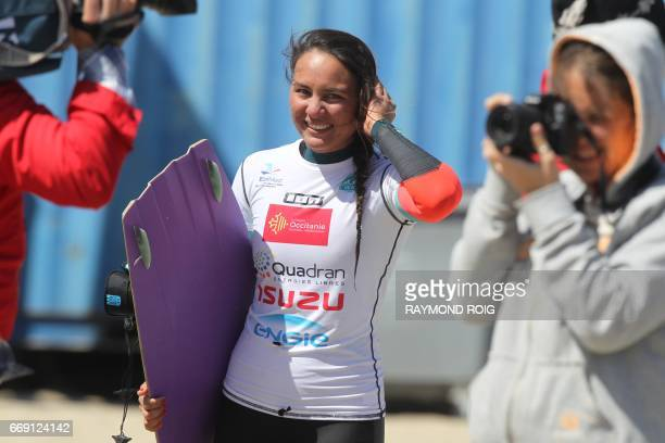 Brazilian Bruna Kaliya smiles after winning the Mondial du Vent or World Wind kitesurfer competition part of the World Cup Kitesurf Freestyle WKL...