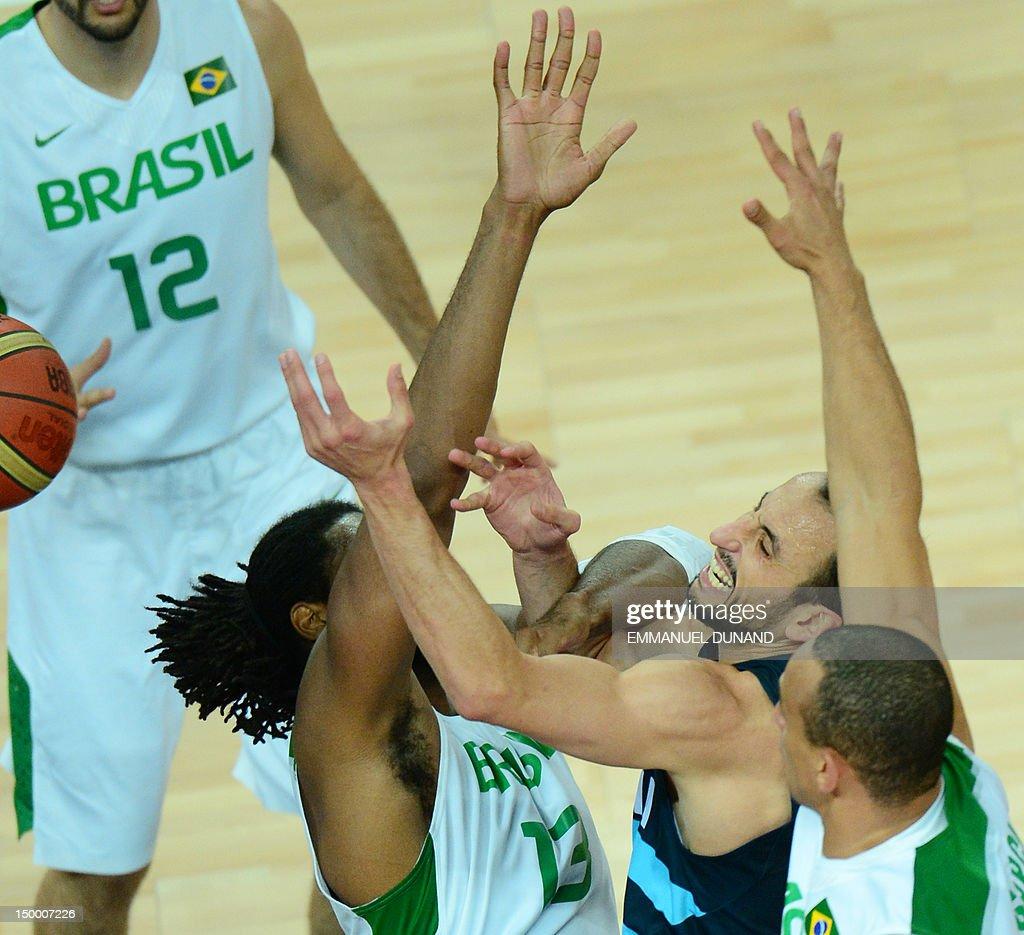 Brazilian centre Nene Hilario (L) and Brazilian guard Alex Garcia (R) challenge Argentinian guard Emanuel Ginobili (C) during their London 2012 Olympic Games men's quarterfinal basketball match in London on August 8, 2012.