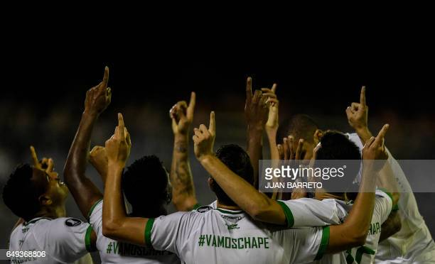 TOPSHOT Brazilian Chapecoense players celebrate after scoring a gaol against Venezuela's Zulia during their Copa Libertadores football match in...
