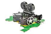 Brazilian cinematography, film industry concept. 3D rendering isolated on white background