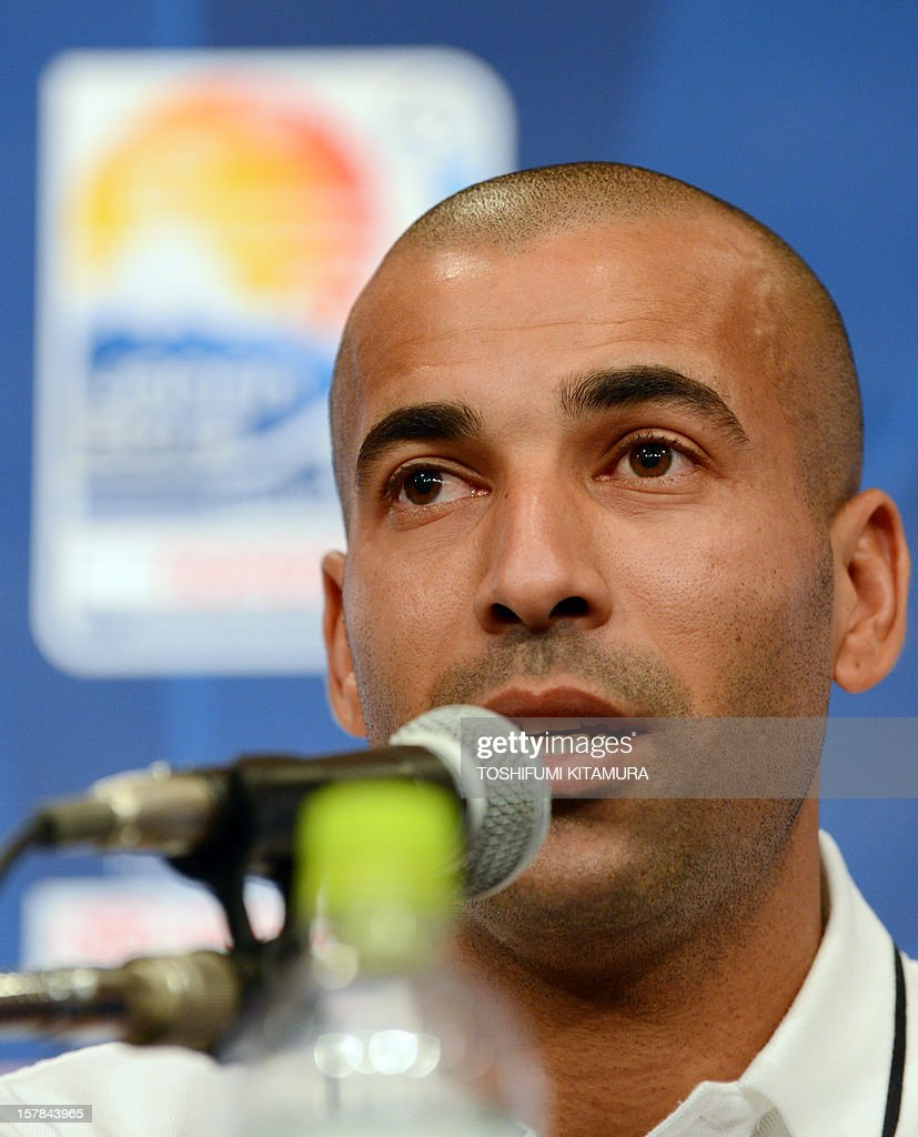 Brazilian club team Corinthians captain and forward Emerson answers a question during the team's press conference at a hotel in Nagoya, Aichi prefecture while participating in the FIFA Club World Cup in Japan 2012 on December 7, 2012. The ninth edition of the FIFA Club World Cup football tournament is taking place from December 6 to 16.
