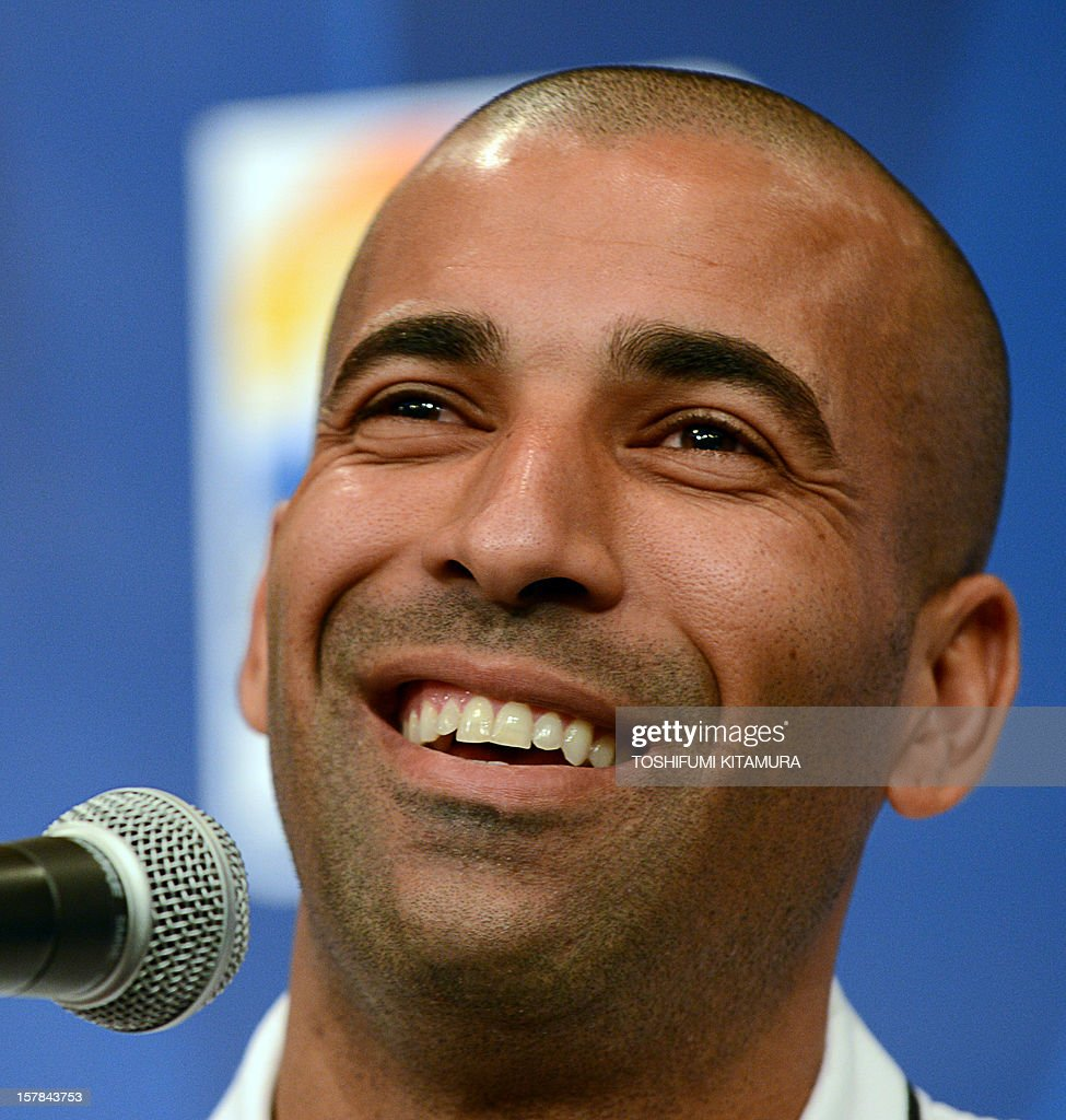Brazilian club team Corinthians captain and forward Emerson smiles during the team's press conference at a hotel in Nagoya, Aichi prefecture while participating in the FIFA Club World Cup in Japan 2012 on December 7, 2012. The ninth edition of the FIFA Club World Cup football tournament is taking place from December 6 to 16.