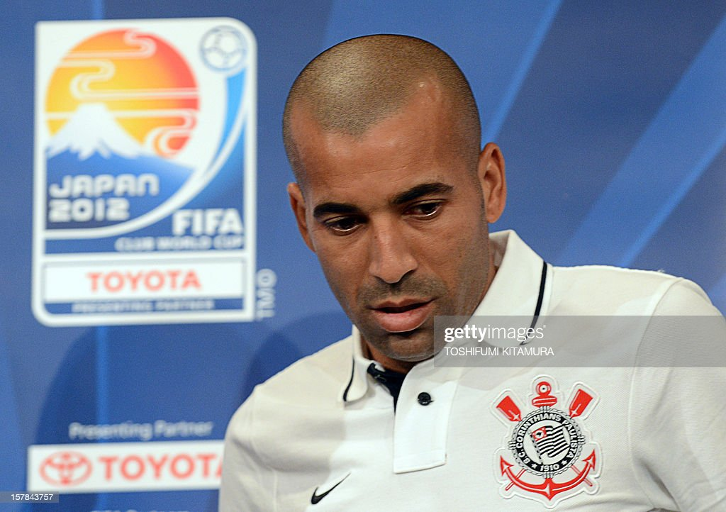 Brazilian club team Corinthians captain and forward Emerson takes a seat to start the team's press conference at a hotel in Nagoya, Aichi prefecture while participating in the FIFA Club World Cup in Japan 2012 on December 7, 2012. The ninth edition of the FIFA Club World Cup football tournament is taking place from December 6 to 16. AFP PHOTO / TOSHIFUMI KITAMURA
