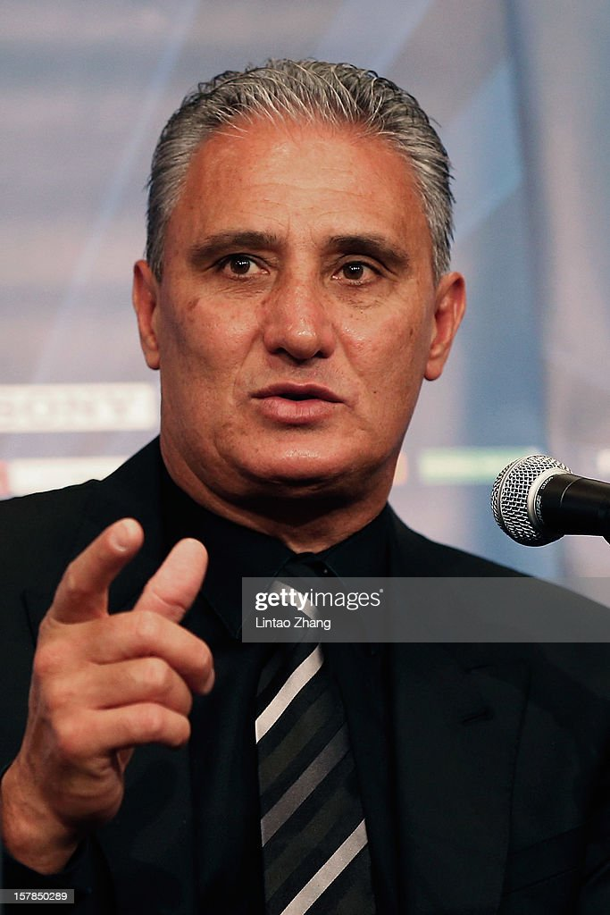 Brazilian club team Corinthians head coach Tite answers a question during Corinthians press conference at Nagoya Mariott Associa Hotel on December 7, 2012 in Nagoya, Japan.