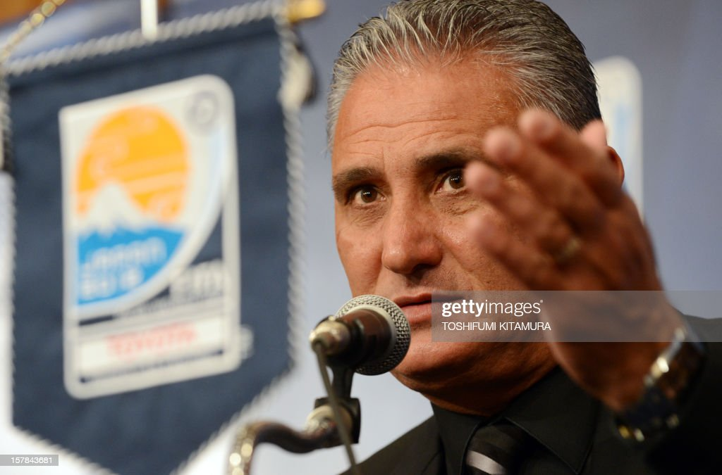 Brazilian club team Corinthians head coach Tite gestures during their press conference at a hotel in Nagoya, Aichi prefecture while participating in the FIFA Club World Cup in Japan 2012 on December 7, 2012. The ninth edition of the FIFA Club World Cup football tournament is taking place from December 6 to 16.