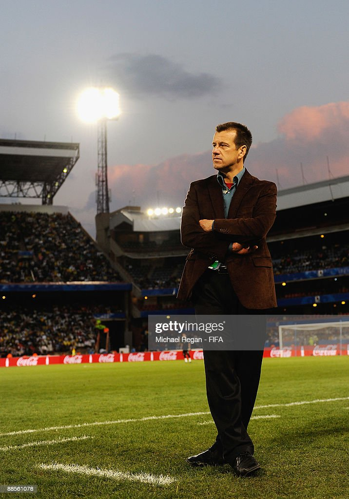 Brazilian coach Dunga looks on during the FIFA Confederations Cup Group B match between USA and Brazil at Loftus Versfeld Stadium on June 18 2009 in...