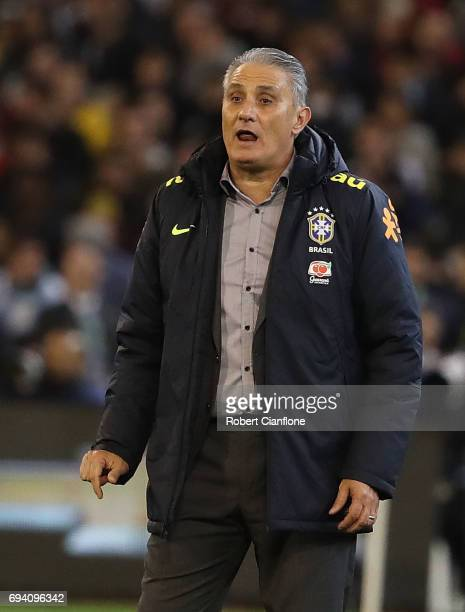 Brazilian coach Tite looks on during the Brazil Global Tour match between Brazil and Argentina at Melbourne Cricket Ground on June 9 2017 in...