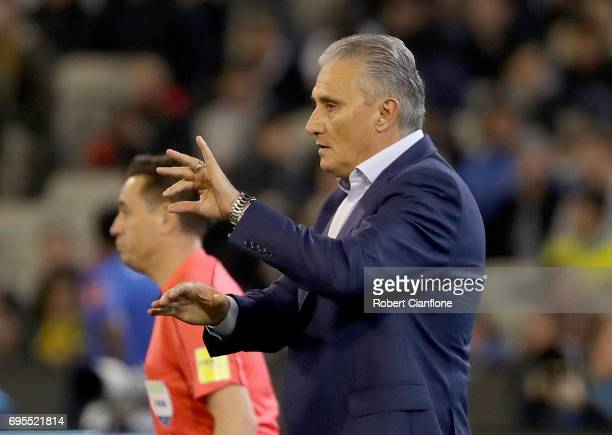 Brazilian coach Tite reacts during the Brasil Global Tour match between Australian Socceroos and Brazil at Melbourne Cricket Ground on June 13 2017...