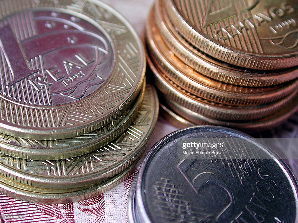 Brazilian coins. : Stock Photo