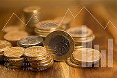 Brazilian coins and graphics. Economic indicators. Selective focus.
