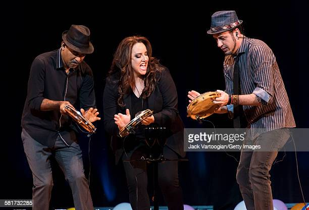 Brazilian composer and singer Ana Carolina performs in a tambourine trio with drummer Leonardo Reis and keyboardist Mikael Mutti at a World Music...