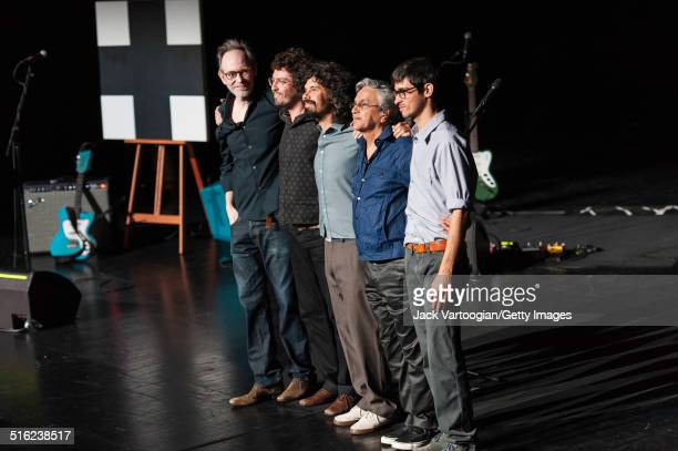 Brazilian composer musician Caetano Veloso and his band take a bow at the end of a concert during the 2014 Next Wave Festival at the BAM Howard...