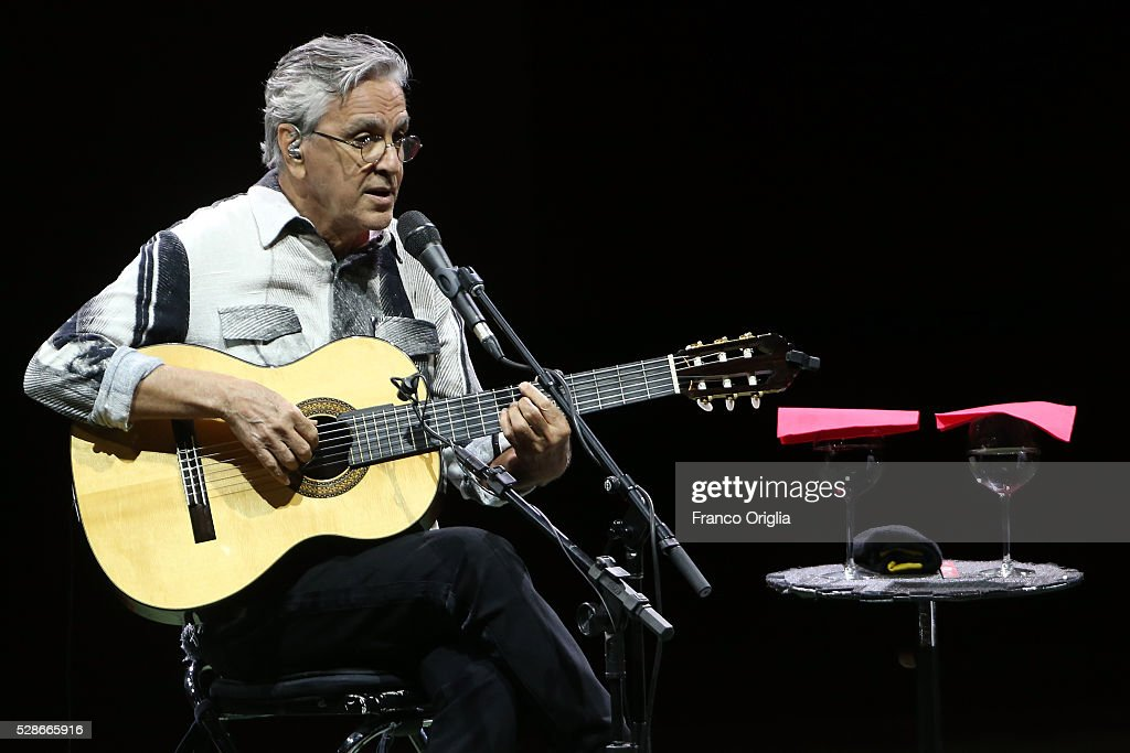 Brazilian composer, singer and guitarist <a gi-track='captionPersonalityLinkClicked' href=/galleries/search?phrase=Caetano+Veloso&family=editorial&specificpeople=567425 ng-click='$event.stopPropagation()'>Caetano Veloso</a> performs at the Auditorium Parco della Musica on May 6, 2016 in Rome, Italy.
