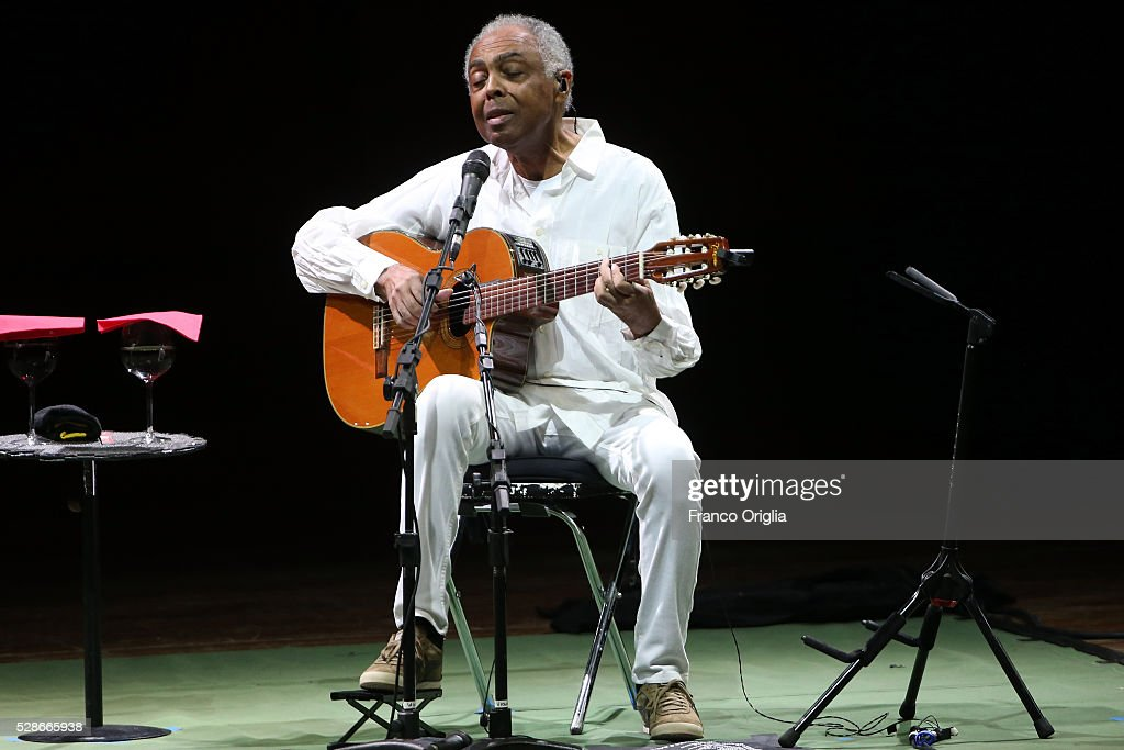 Brazilian composer, singer and guitarist <a gi-track='captionPersonalityLinkClicked' href=/galleries/search?phrase=Gilberto+Gil&family=editorial&specificpeople=227200 ng-click='$event.stopPropagation()'>Gilberto Gil</a> performs at the Auditorium Parco della Musica on May 6, 2016 in Rome, Italy.