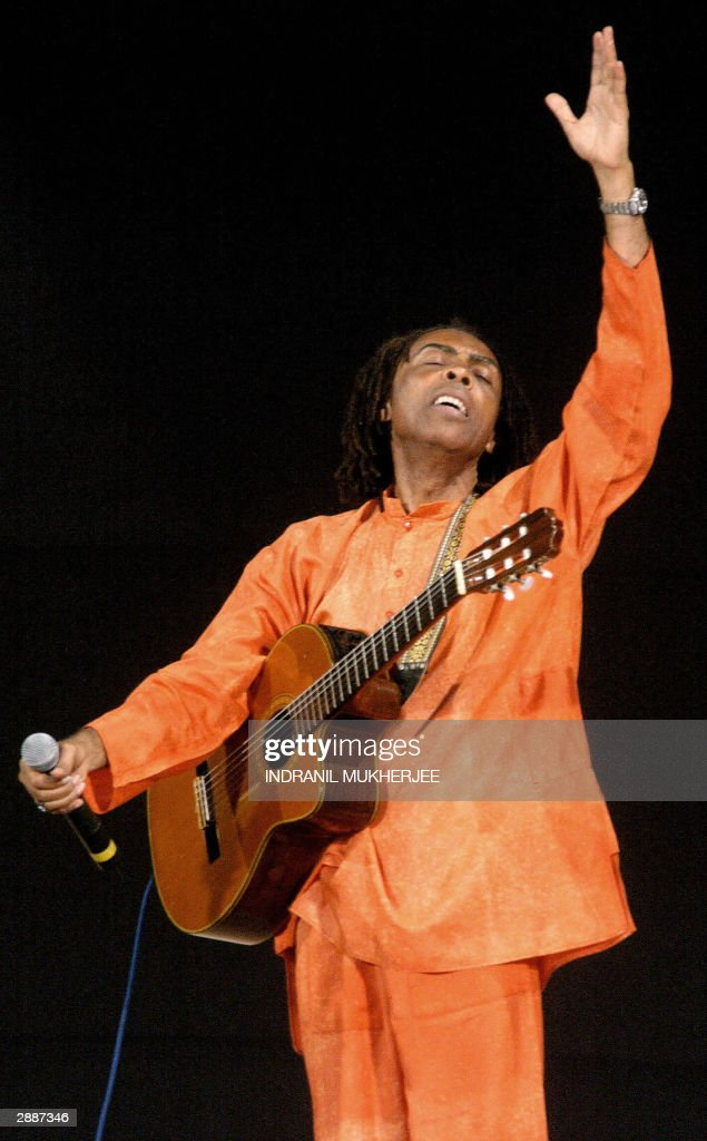 Brazilian Culture Minister and singer Gilberto Gil performs at the closing ceremony of the 2004 World Social Forum 21 January 2004 Antiglobalisation...