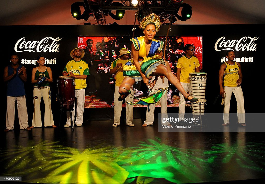 Brazilian dancers perform at the FIFA World Cup Trophy Tour Village during day three of the FIFA World Cup Trophy Tour on February 21, 2014 in Rome, Italy.