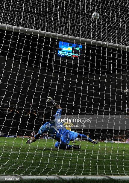 Brazilian defender Andre Santos misses his shot during the penalty shootout against Paraguay during the 2011 Copa America quarterfinal football match...
