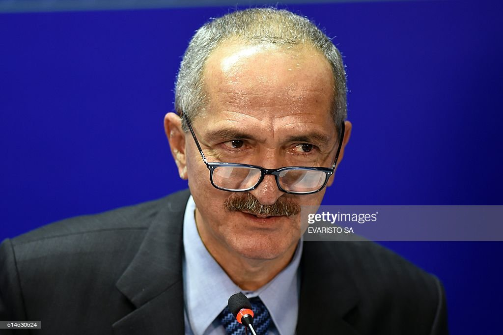 Brazilian Defense Minister <a gi-track='captionPersonalityLinkClicked' href=/galleries/search?phrase=Aldo+Rebelo&family=editorial&specificpeople=772117 ng-click='$event.stopPropagation()'>Aldo Rebelo</a> speaks during a press conference to give information about the armed forces' security measures for athletes and facilities for the upcoming Olympic and Paralympic Games Rio 2016, at the Ministry of Defense in Brasilia, on March 9, 2016.