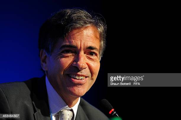 Brazilian Deputy Sports Minister Luis Fernandes attends a press conference during a media day ahead of the Final Draw for the 2014 FIFA World Cup at...