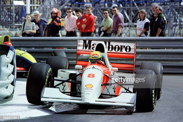 Brazilian driver Ayrton Senna steers his McLaren Ford around a curve on May 23 during the Monaco Formula One Grand Prix Senna won for the fifth...